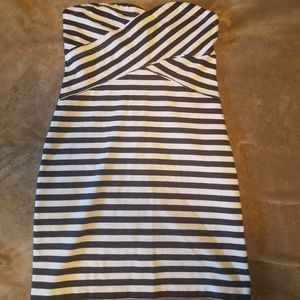 AE strapless navy and white striped dress